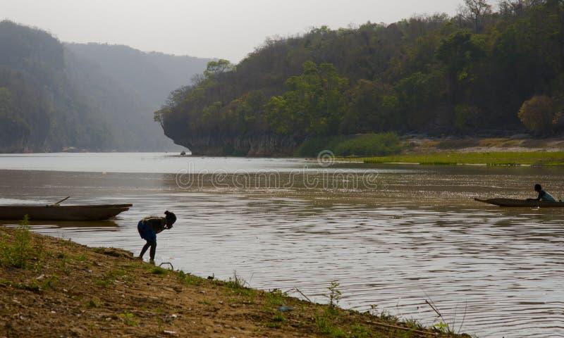Vista della riva del fiume di mattina del Madagascar fotografia stock libera da diritti