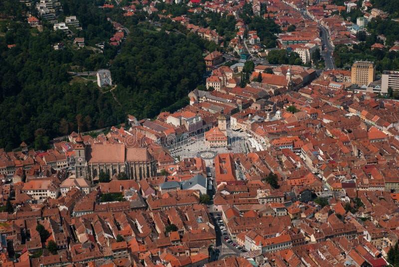 Vista della Romania del quadrato principale di Brasov fotografia stock libera da diritti