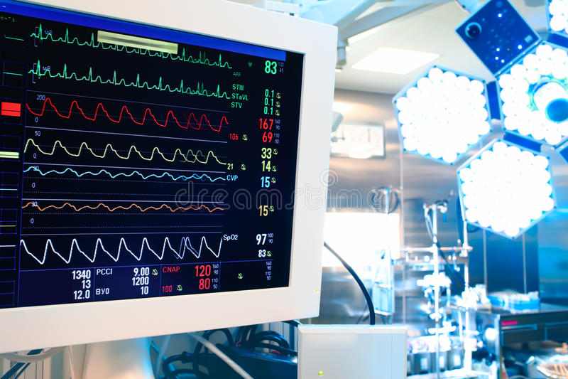 Vista della sala operatoria moderna immagini stock