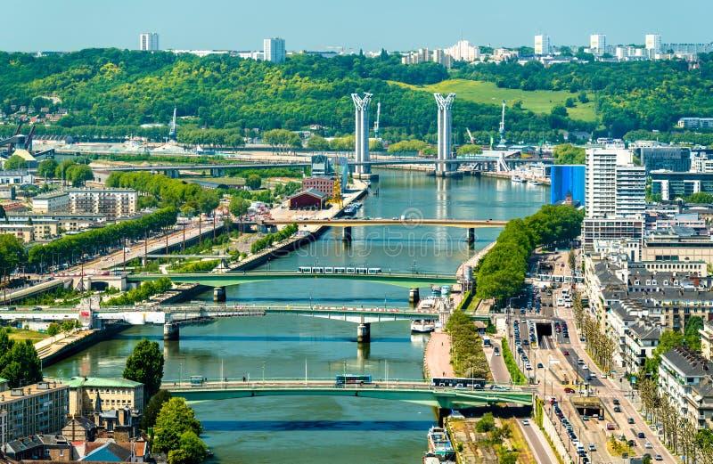 Vista della Senna a Rouen, Francia fotografie stock