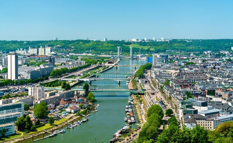Vista della Senna a Rouen, Francia fotografia stock libera da diritti