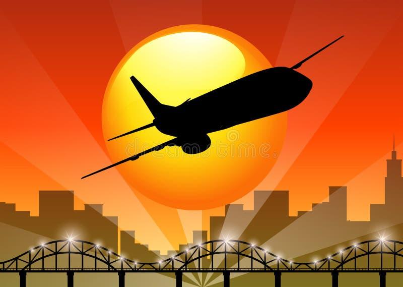 Vista della siluetta dell'aeroplano che sorvola la città illustrazione vettoriale