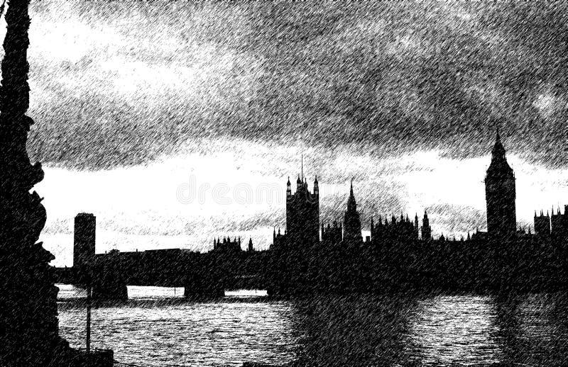 Vista della siluetta di Londra illustrazione vettoriale