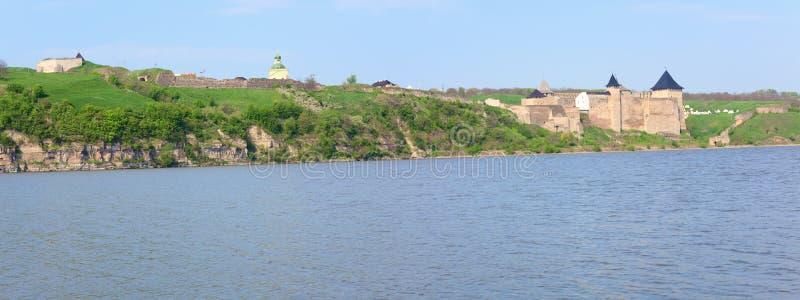 Vista della sorgente della fortezza di Khotyn (Ucraina) fotografia stock libera da diritti