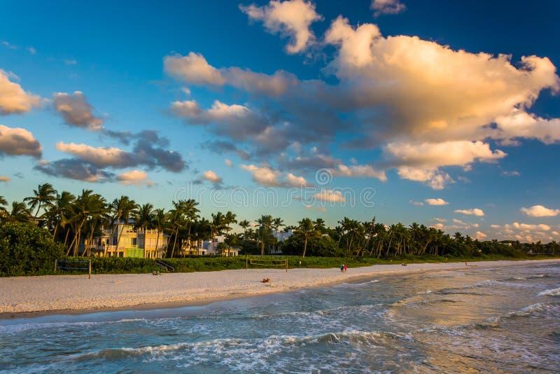 Vista della spiaggia dal pilastro di pesca a Napoli, Florida fotografie stock