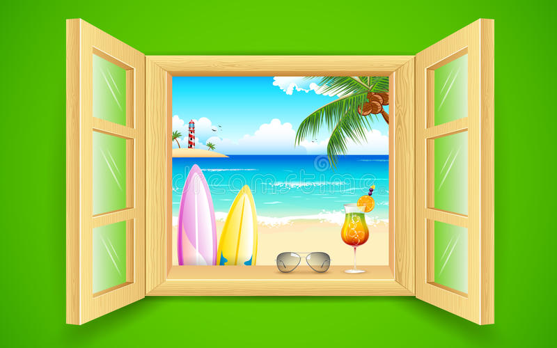 Vista della spiaggia del mare dalla finestra illustrazione di stock