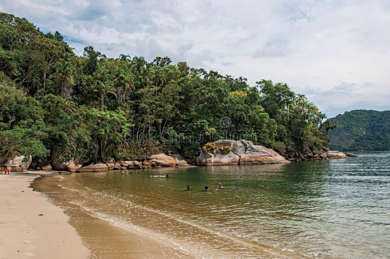 Vista della spiaggia, del mare e della foresta il giorno nuvoloso in Paraty Mirim immagine stock libera da diritti