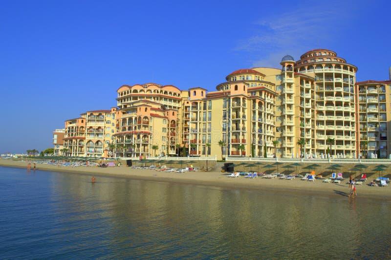 Vista della spiaggia della località di soggiorno di Elenite, Bulgaria fotografie stock libere da diritti