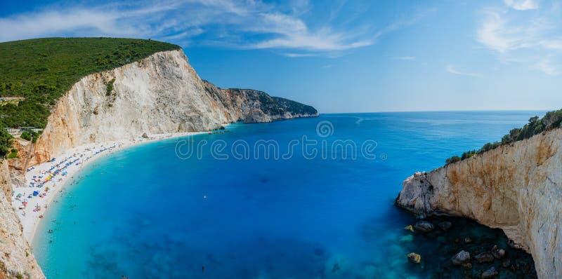Vista della spiaggia di Oporto Katsiki, Leucade Grecia immagine stock libera da diritti