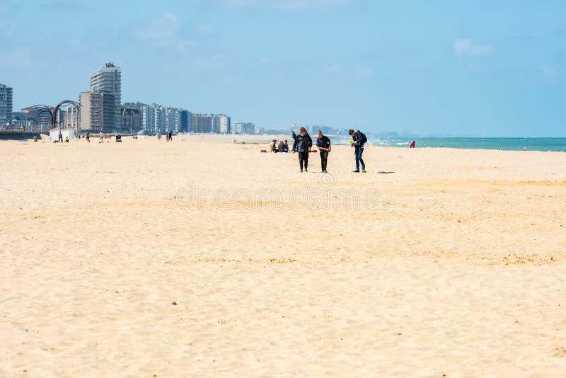 Vista della spiaggia di Ostenda, Belgio fotografia stock