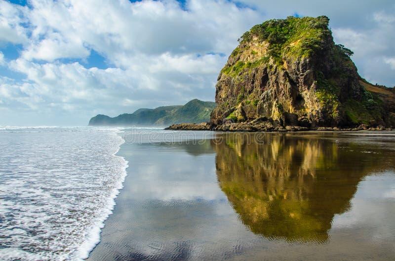 Vista della spiaggia di Piha con la riflessione nel mare con cielo blu con le nuvole bianche qui sopra, Northland, isola del nord immagini stock libere da diritti