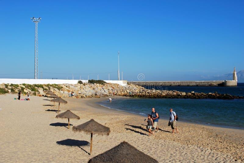 Vista della spiaggia di Tarifa, Spagna fotografie stock libere da diritti
