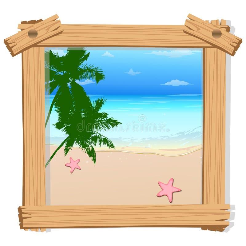 Vista della spiaggia nel telaio della foto illustrazione di stock