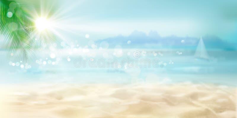 Vista della spiaggia soleggiata Laguna blu Illustrazione di vettore illustrazione vettoriale