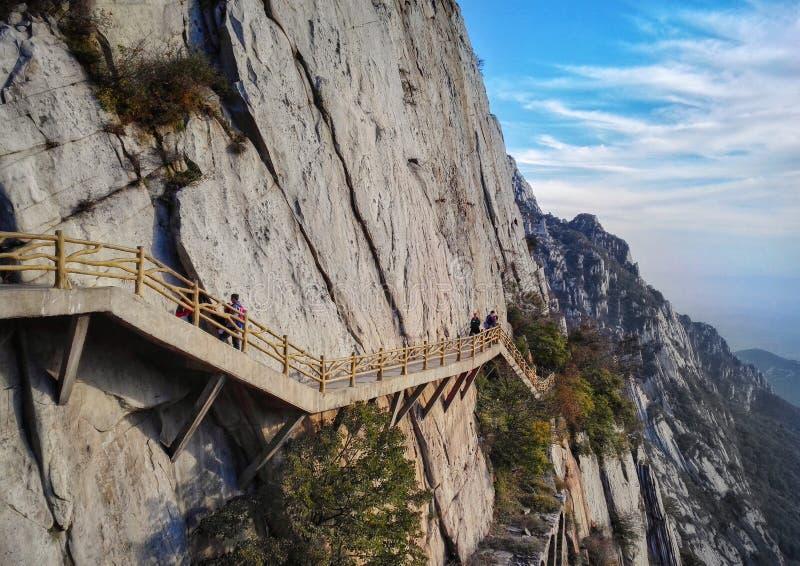 Vista della strada della plancia di tramonto del Monte Song immagini stock libere da diritti