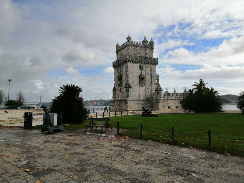 Vista della Torre di Belem-Lisbona-Portogallo fotografia stock