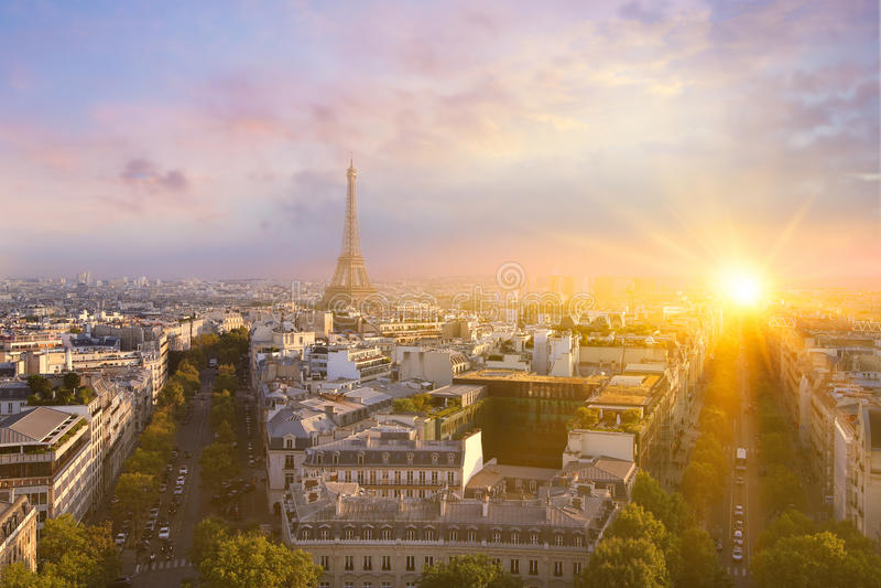 Vista della torre Eiffel e di Parigi immagine stock