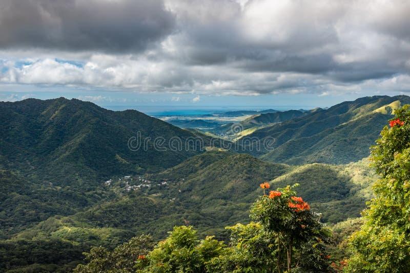 Vista della valle portoricana da sopra fotografie stock