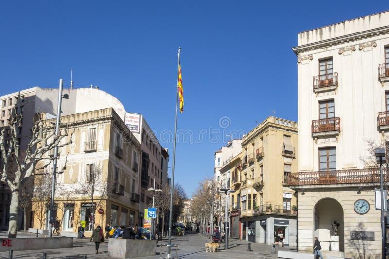 Vista della via, centro storico in Mataro, Spagna immagine stock libera da diritti