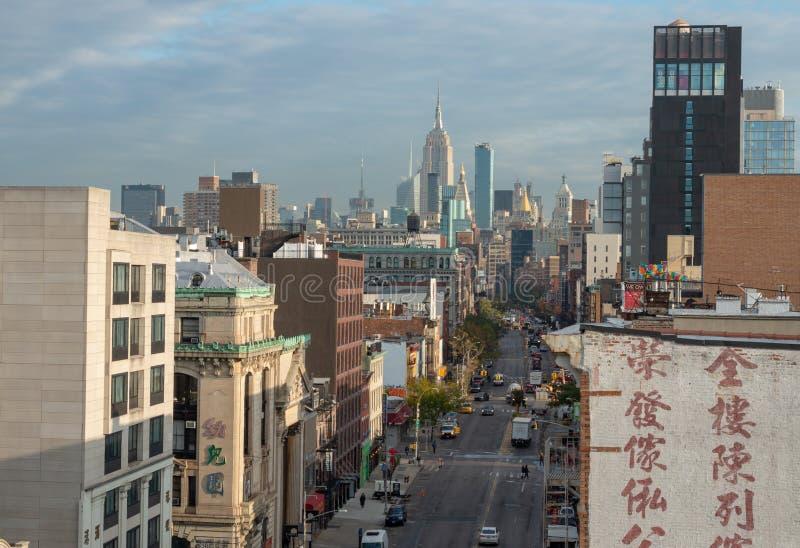 Vista della via in Chinatown in New York fotografia stock libera da diritti