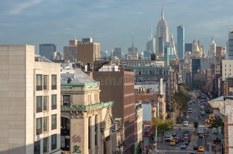 Vista della via in Chinatown in New York fotografia stock