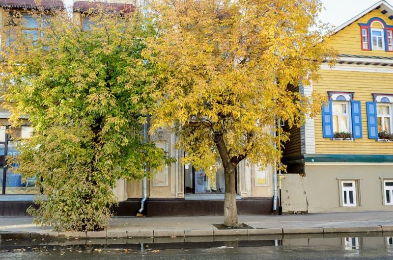 Vista della via con gli alberi di autunno e della casa di legno nello stile russo immagini stock