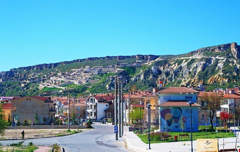 Vista della via dalla città Turchia di Urgup fotografie stock