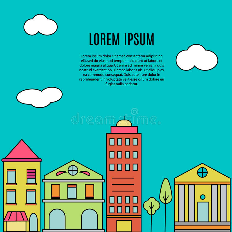 Vista della via della città Case del bene immobile?, appartamenti da vendere o per affitto Costruzioni moderne Insegna di vettore illustrazione di stock