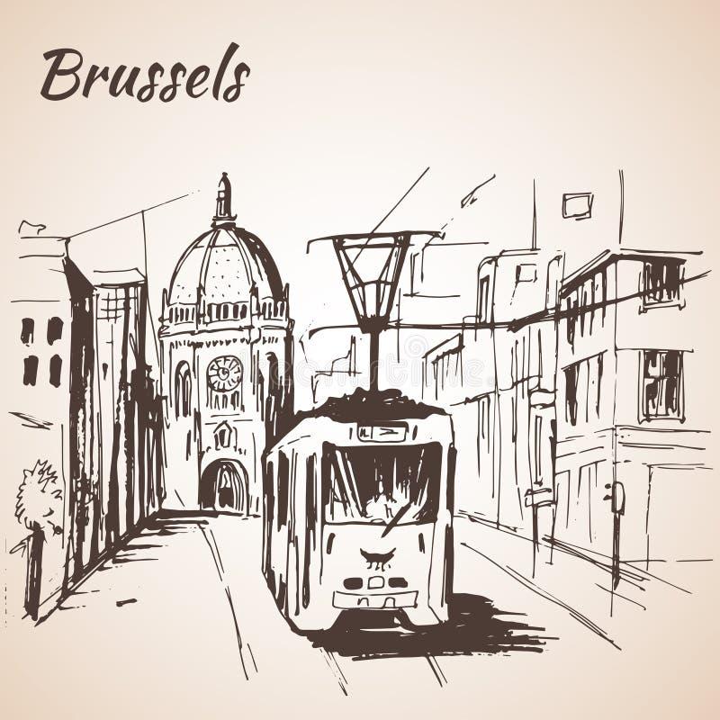 Vista della via di Bruxelles con il tram illustrazione di stock
