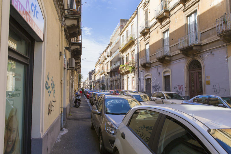 Vista della via di Catania fotografie stock libere da diritti