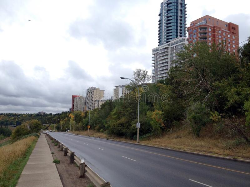 Vista della via di Edmonton fotografia stock libera da diritti