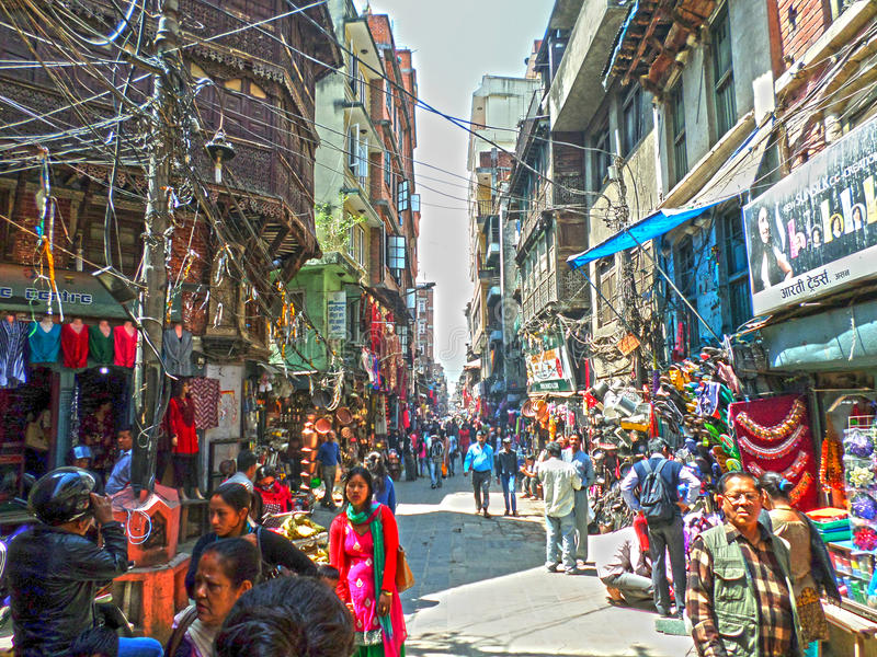 Vista della via di Kathmandu fotografie stock
