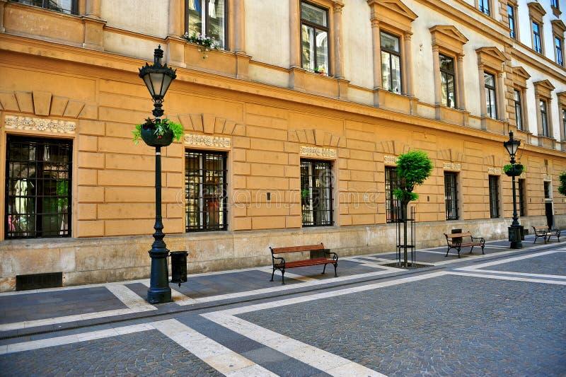 Vista della via pedonale nel centro della città di Budapest immagini stock libere da diritti
