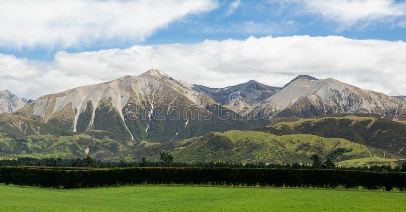 Vista delle alpi del sud Nuova Zelanda immagine stock