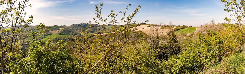 Vista delle colline di Montefeltro nella regione della Marche di Italia immagini stock