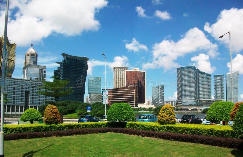 Vista delle costruzioni dell'orizzonte di paesaggio di Macao immagini stock