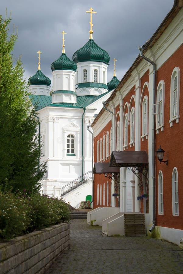 Vista delle cupole di una cattedrale della natività del Theotokos nel pomeriggio nuvoloso Kostroma, Russia immagini stock
