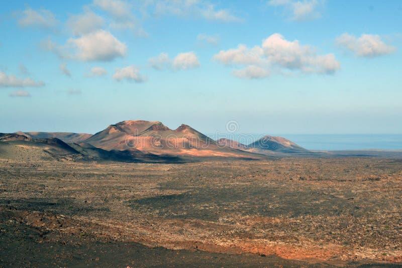 Vista delle montagne del fuoco, Lanzarote fotografia stock