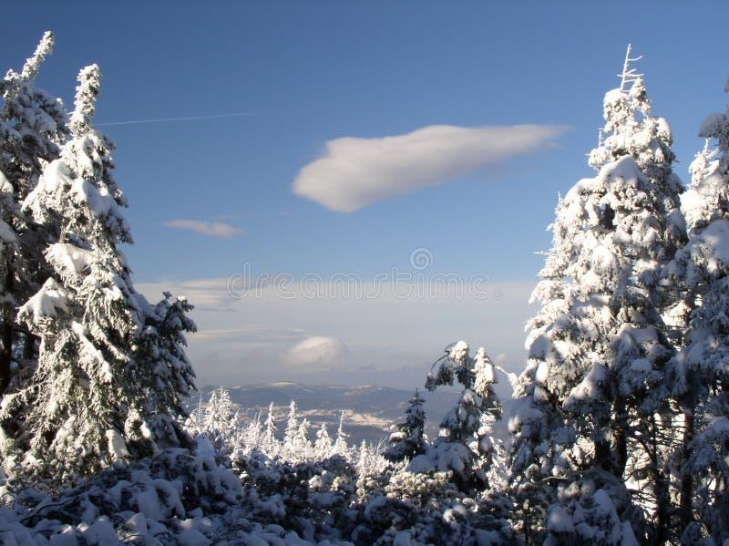 Vista delle montagne di Izerskie fotografie stock libere da diritti