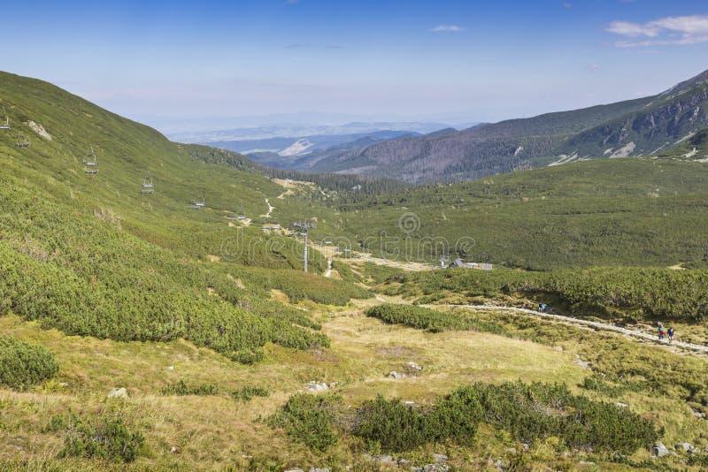 Vista delle montagne di Tatra dalla traccia di escursione poland europa immagine stock