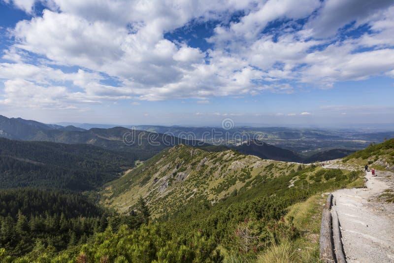 Vista delle montagne di Tatra dalla traccia di escursione poland europa fotografia stock
