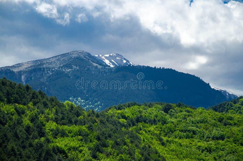 Vista delle montagne Olympus, Pieria, Macedonia, Grecia immagine stock libera da diritti