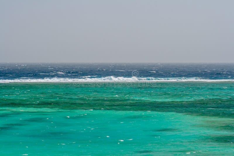 Vista delle onde verdi blu selvagge in Windy Afternoon nell'Egitto immagine stock
