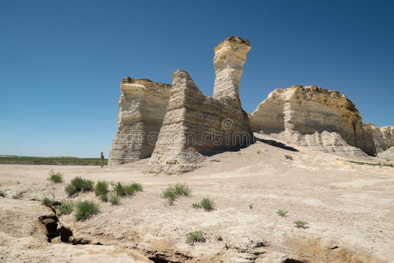 Vista delle rocce del monumento in Kansas occidentale fotografie stock libere da diritti