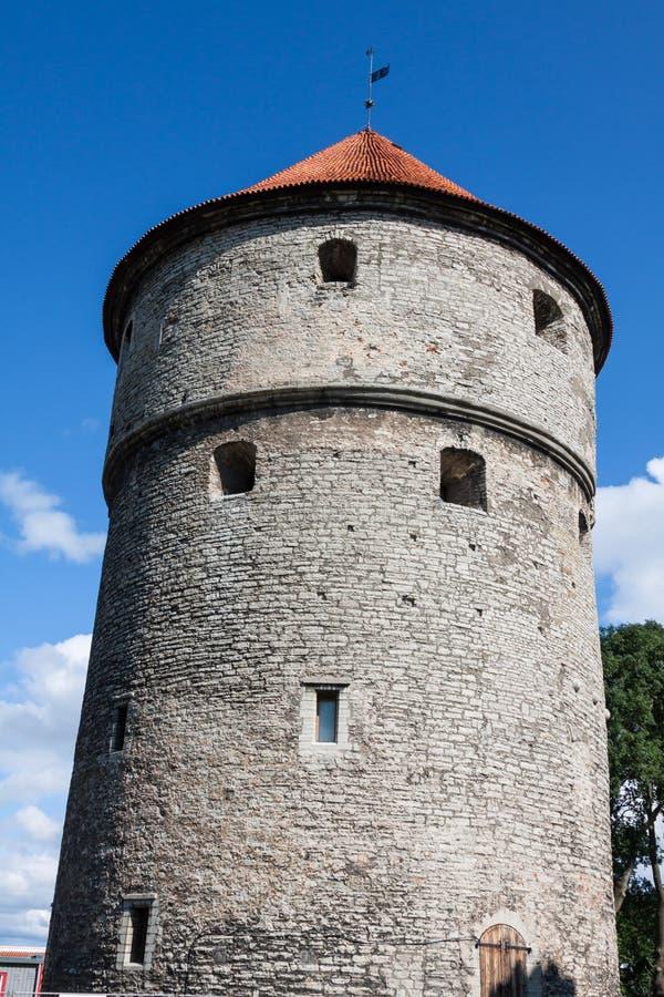Vista delle torri e della chiesa della fortezza sul fondo del cielo. Tallinn. E fotografie stock