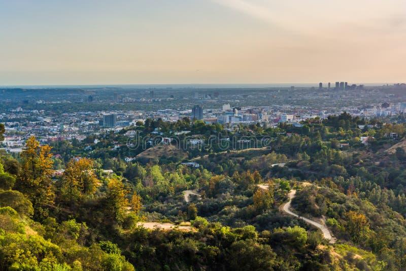 Vista delle tracce a Griffith Park e Hollywood fotografia stock