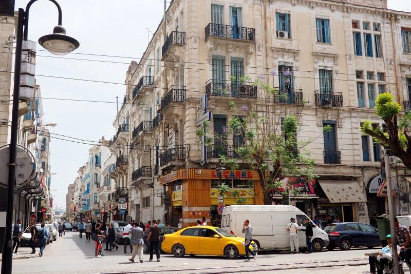 Vista delle vie di Tunisi del centro fotografia stock