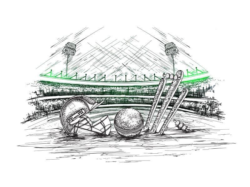 Vista dello stadio del cricket con l'illustrazione del casco, della palla e dei ceppi del cricket illustrazione di stock
