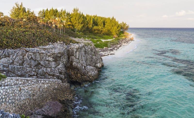 Vista descalça da praia de Grande Caimão fotografia de stock royalty free