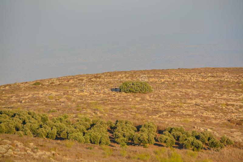 Vista desde la reserva natural de Giv'at Hamo`re Cerca de Afula, Israel en Asia Occidental imagenes de archivo